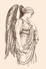 An angel with wings holds in his hand a scroll of papyrus stands in profile.