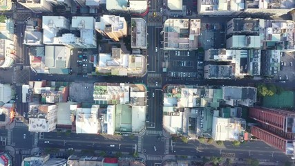 Papier Peint - 4k Aerial Footage Top view of kaohsiung city,Taiwan