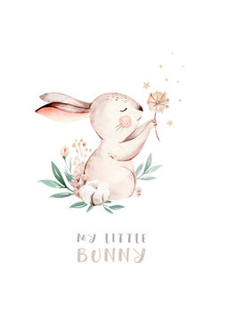 Watercolor Happy Easter baby bunnies design with spring blossom flower. Rabbit bunny kids illustration  Easter cartoon forest hare animal bunny holiday funny decoration. Nursery poster design.