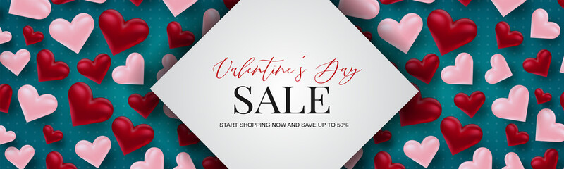 Valentine's Day sale banner design. Romantic love 3d hears decoration on blue background. Design concept for website header or newsletters. Vector illustration.