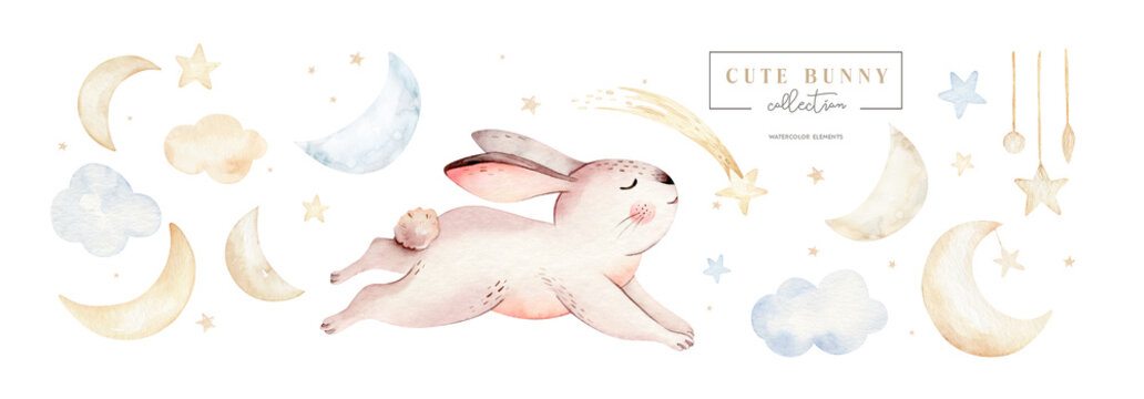 Cute baby rabbit animal dream illustration comet with gold stars in night sky, forest bunny illustration for children clothing. Nursery Wallpaper poster Woodland watercolor Hand drawn design poster