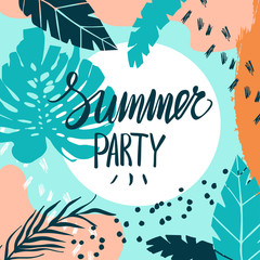 Creative summer card template with hand drawn leaves and strokes.