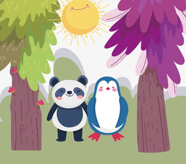 little panda and penguin cartoon character forest foliage nature landscape