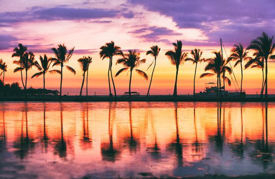 Hawaii beach sunset scenic panoramic banner background for summer vacation, romantic honeymoon travel destinations.