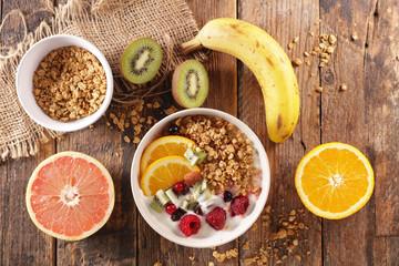 cereal breakfast with fruit and milk- healthy breakfast