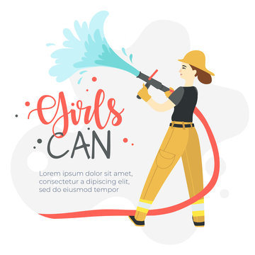 Female firefighter holding hose throwing water working. girls can feminism vector banner.
