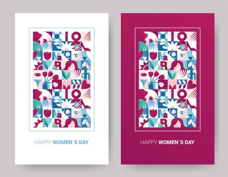 Set of abstract geometric posters for 8 march women`s day celebration with holiday symbols. Seamless  backgrounds for brochures, poster design. Vector illustration