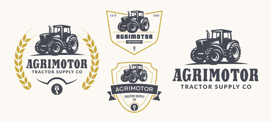 Set of farm logo, emblems, and badges. Simple line tractor illustration for rental, repair business. Fotomurales