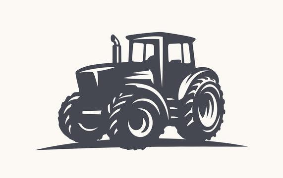 Modern tractor illustration on white background.