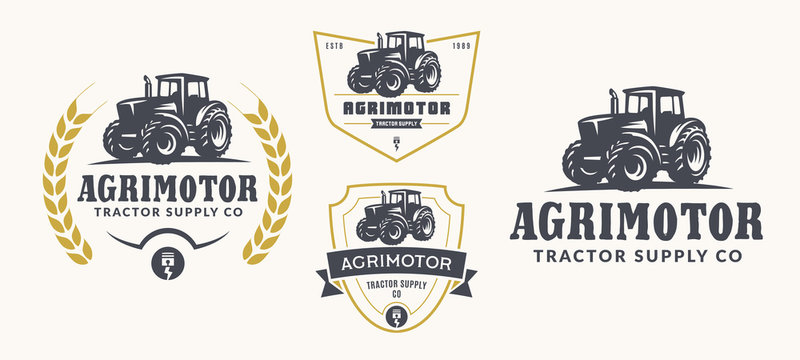 Set of farm logo, emblems, and badges. Simple line tractor illustration for rental, repair business.
