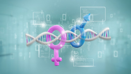 DNA with data and male and female symbol - 3d rendering