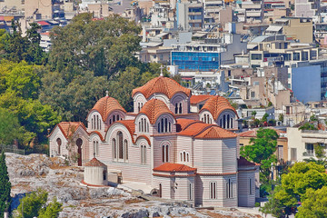 """Hagia Marina"" St. Marei orthodox church on Nymphes hill under Acropolis of Athens, Greece"