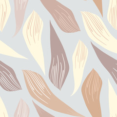 Beige, cream white and caramel brown leaves modern hand drawn background. Seamless foliage vector pattern on dove grey backdrop. Elegant repeat for health, cosmetics packaging, stationery, home decor