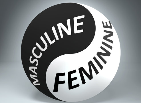 Masculine and feminine in balance - pictured as words Masculine, feminine and yin yang symbol, to show harmony between Masculine and feminine, 3d illustration