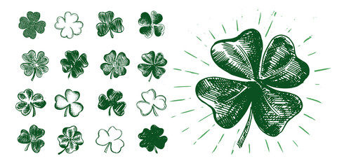 Clover set. Patrick's day. Hand drawn illustration.