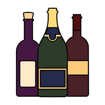 set of wine bottles on white background , national wine day