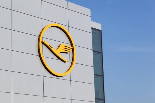 Frankfurt, Germany - March 18, 2016: Lufthansa logo on wall at Frankfurt airport. Lufthansa is a german airline and also the largest airline in Europe