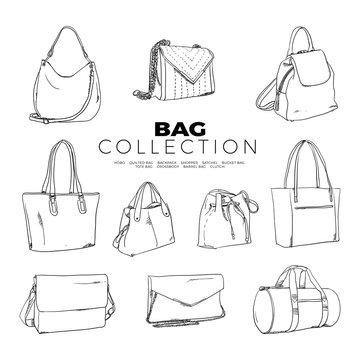 Doodle set of Bag Collection – Hobo, Quilted Bag, Backpack, Shopper, Satchel, Bucket Bag Tote Bag, Crossbody, Barrel Bag, Clutch, hand-drawn. Vector sketch illustration isolated over white background