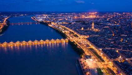 Illuminated Bordeaux city at night