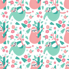 Seamless tropical pattern with funny sloths hanging on the tree. Adorable cartoon animal background. Rainforest set of cute sloths, flowers, leaves. Hand drawn design for fabric in scandinavian style.