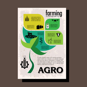 Agriculture brochure design template for agricultural company, agro conference, forum, event, exhibition, business