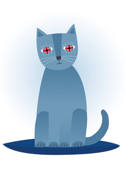 Funny cute blue british cat. Isolated vector illustration.