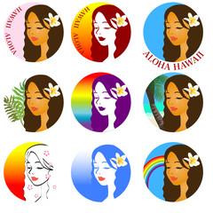 ハワイアンロゴ 女性の横顔