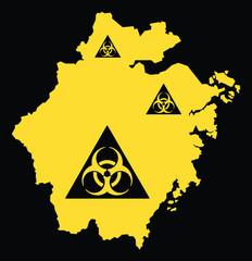 Zhejiang province map of China with biohazard virus sign
