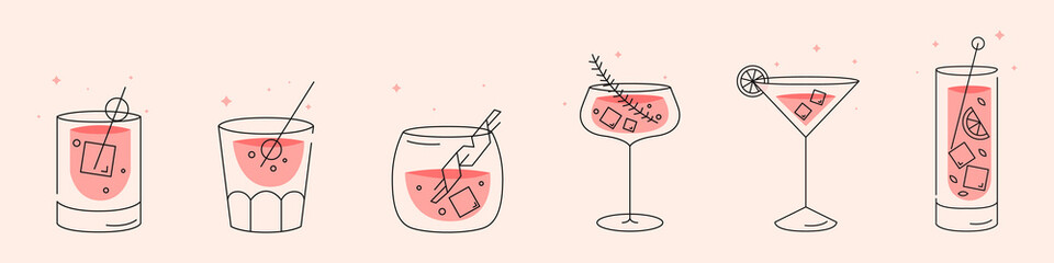 Deurstickers Sap Cocktails collection. A set of Cooling summer drinks. Modern style. Flat design