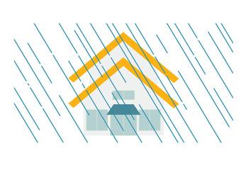 大雨と家のイラスト