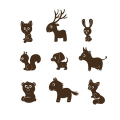 Vector illustration, set of cartoon cute animal silhouettes. Cat, deer, rabbit, dog, fox, squirrel, bear, cow, horse