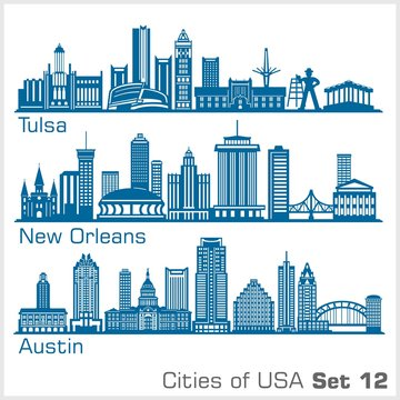 Cities of USA - Tulsa, New Orleans, Austin. Detailed architecture. Trendy vector illustration.