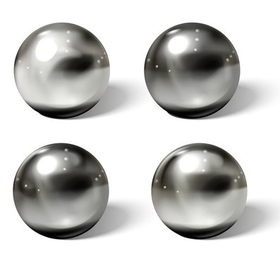 Realistic metal balls. Steel, chrome 3D spheres.