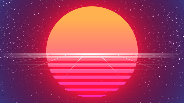 80s Sun Background. Retro Future Sunset Banner. Big Neon Sun. Synthwave Backdrop. Retrowave Style. Party flyer, poster, print template. 80s Sci-fi Vector Illustration