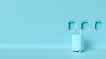 Travel luggage mockup, blue pastel colors in empty studio room, airplane windows, space for text,...