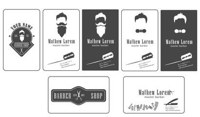 Template barber shop business card vector illustration