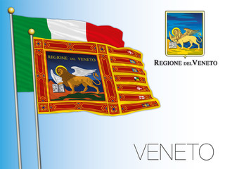 Veneto official regional flag and coat of arms, Italy, vector illustration