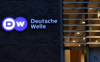 The logo of German international broadcaster Deutsche Welle is pictured in Berlin