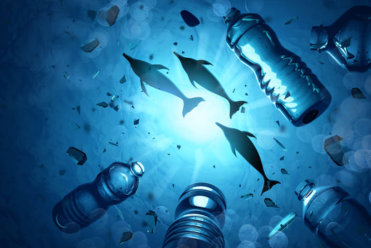 Dolphins swimming in an ocean filled with microplastics and plastic waste. Ocean water pollution concept. 3D illustration.