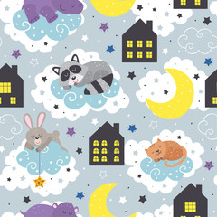seamless pattern with sleeping animals and night houses  - vector illustration, eps