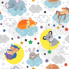 seamless pattern with cute sleeping animals  - vector illustration, eps
