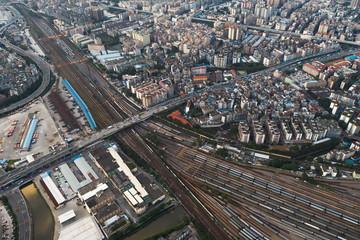 drone view cityscape in guangzhou china