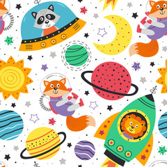 seamless pattern with space animals on white background. Lion,fox,raccoon in space  - vector illustration, eps