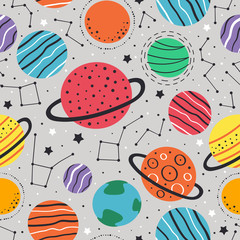 seamless pattern with planets and stars on gray background  - vector illustration, eps