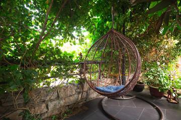 wooden chiar in the garden