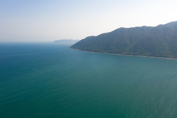 aerial view of sea with mountain