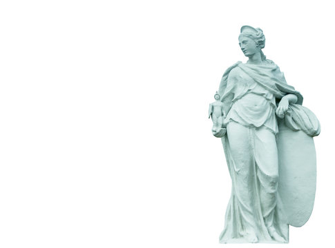 Ancient statue of the goddess of victory Athena isolated on white background.