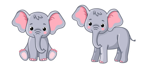 Set with little elephants in different poses on a white background.