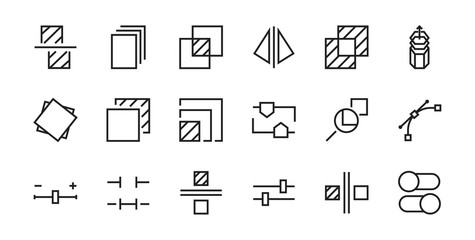 A simple set of image editing related vector line icons. Contains icons such as crop, copy, scale, rotate and more. Editable stroke. 48x48 Pixel Perfect. On white background