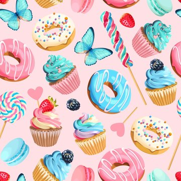 Vector seamless pattern with cupcakes and donuts